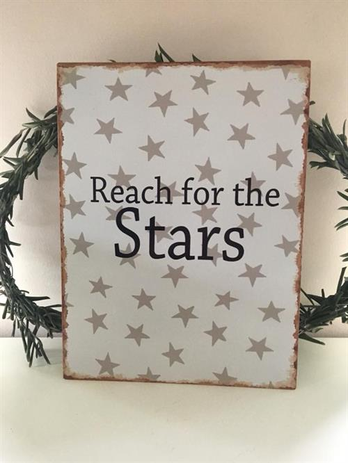 "Emalje skilte med tekst "" Reach for the Stars """