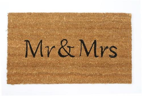Dørmåtte med tekst mr. And mrs